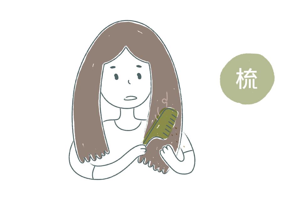 先輕輕梳理掉髮絲灰塵,讓後續洗頭更容易起泡。